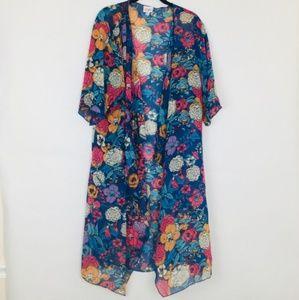 Lularoe Shirley Floral Sheer Waterfall Kimono Med